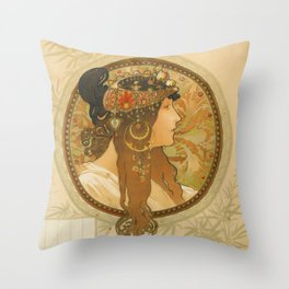 "Alphonse Mucha ""Byzantine Head: The Brunette"" Throw Pillow"