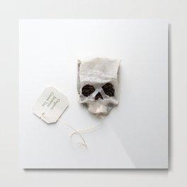 253. Tea Bag Skull Metal Print