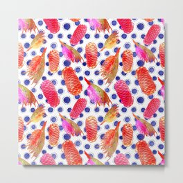 Beautiful Australian Native Floral Pattern - Grevillea and Beehive Ginger Metal Print