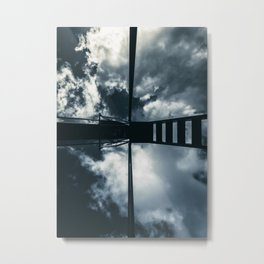 Blue slide under a cloudy sky Metal Print