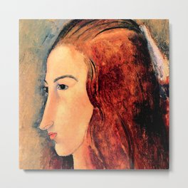 """Amedeo Modigliani """"Portrait of a young woman (Profile of Jeanne Hebuterne)"""" Metal Print"""