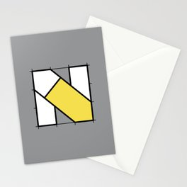 N // Perfectionist Alphabet (Pantone Ultimate Gray + Illuminating) Stationery Cards