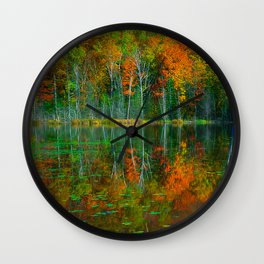 Forest and Lake Reflection Wall Clock