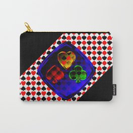 Vector set of designations of cards and suits in poker in metal frame on foil. Red green blue and ye Carry-All Pouch