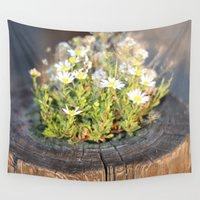 friday Wall Tapestries featuring Friday Flowers by Black Mountain Photo