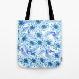 Artistic pastel blue purple watercolor hand painted floral Tote Bag