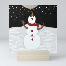 Snowman & The Moon Mini Art Print