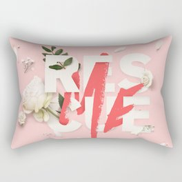 RESCUE ME | Digital typography floral poster pink Rectangular Pillow