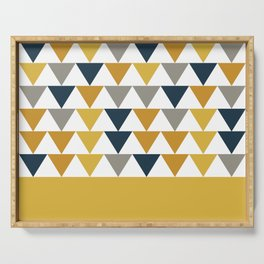 Arrows Cuff - Minimalist Geometric Color Block Pattern in Light and Dark Mustard, Grey, Navy Blue, and White Serving Tray