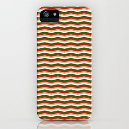 Red Green White and Gold Christmas Wavy Chevron Stripes iPhone Case