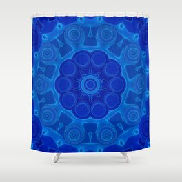 Shades of Blue Kaleidoscope Flower Art Shower Curtain