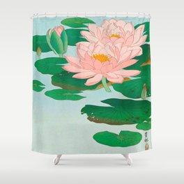 Ohara Koson Water Lilies 1920 Japanese Woodblock Print Vintage Historical Japanese Art Shower Curtain