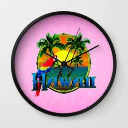 Pink Hawaii Sunset Wall Clock