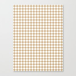 Small Diamonds - White and Tan Brown Canvas Print