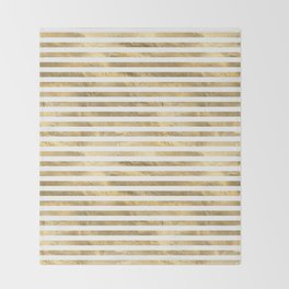 Gold & White Stripe Pattern Throw Blanket