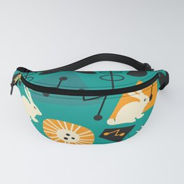 Mid-century pattern with bunnies Fanny Pack