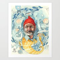 the life aquatic Art Prints featuring AQUATIC by busymockingbird