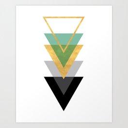 FIVE GEOMETRIC ABSTRACT HOLLOW PYRAMIDS TRIANGLE Art Print