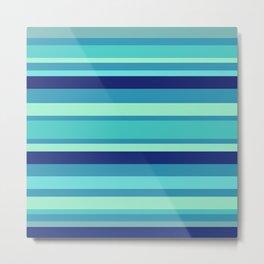 Preppy Stripes - Aqua Blues Metal Print