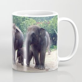 Elephant family, papa, mama and baby. Coffee Mug