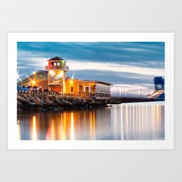 Crab Shack on the James just after sunset. Art Print