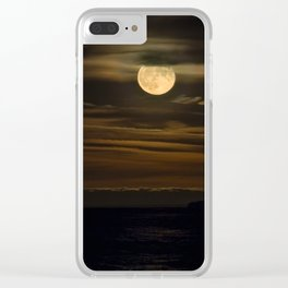 An HDR Close Up on the Moon Rising over Lake Superior Clear iPhone Case