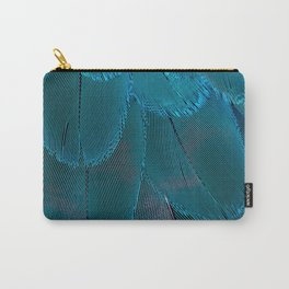 Bright Blue Feathers Abstract Pattern Carry-All Pouch