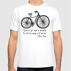 Learn to ride a bicycle. You will not regret it if you live. White Mens Fitted Tee MEDIUM
