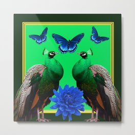 BLUE BUTTERFLIES & GREEN PEACOCKS FLORAL Metal Print