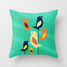 Mid Century Birds Throw Pillow