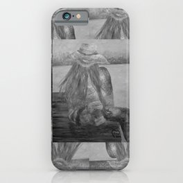 Enjoy The Moment by Lu, Black-and-White iPhone Case