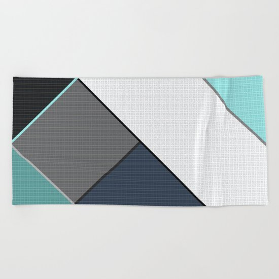 Grey-blue-black pattern . Abstraction . Patchwork . Beach Towel