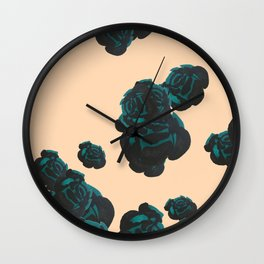 Green and Black Roses on Peach, Greenery Wall Clock