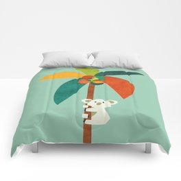 Koala on Coconut Tree Comforters