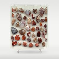 agate Shower Curtains featuring agate,gemstone by ira gora