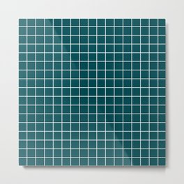 Midnight green (eagle green)	- green color -  White Lines Grid Pattern Metal Print