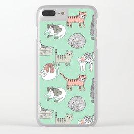 Cat pattern cute nursery cat lady kittens by andrea lauren Clear iPhone Case