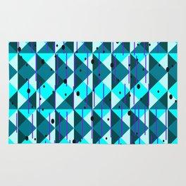 Geometric Pattern in Blue Rug