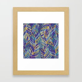 Tropical Leaves, blue and mustard pattern Framed Art Print