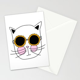 Cat Sunflower Glasses Stationery Cards
