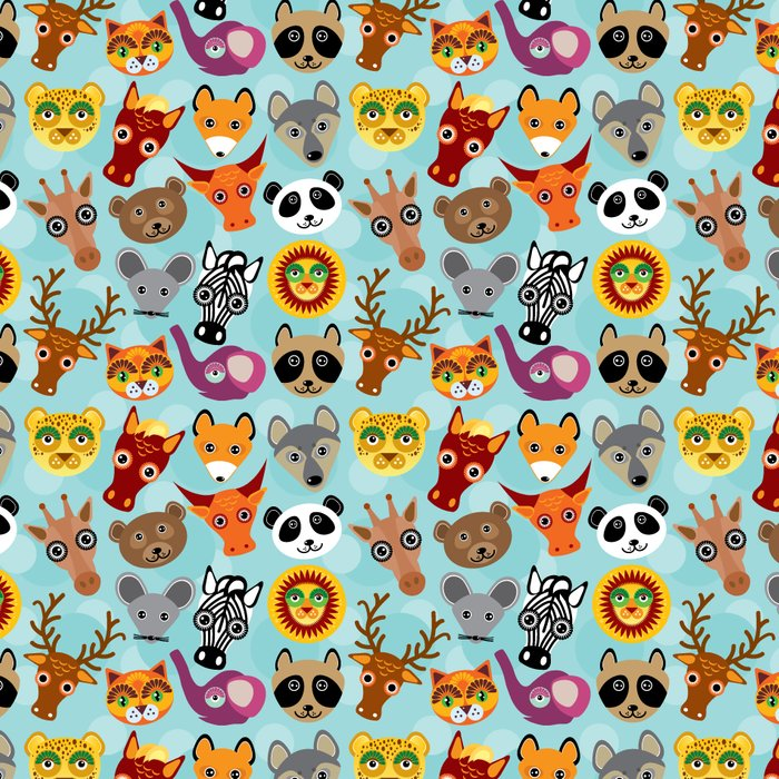 pattern with funny cute animal face on a blue background Leggings