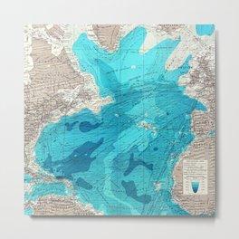 Vintage Blue Transatlantic Mapping Metal Print