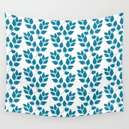 turquoise tree twig pattern Wall Tapestry