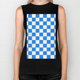Checkered - White and Dodger Blue Biker Tank