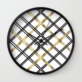 Crosshatch in Gold Wall Clock