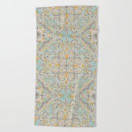 Gypsy Floral in Soft Neutrals, Grey & Yellow on Sage Beach Towel
