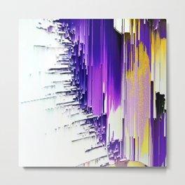 color splash purple indigo white yellow black abstract digital painting Metal Print