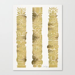 Tiki Totems – Gold Palette Canvas Print