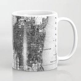 Vintage Map of Seattle Washington (1908) BW Coffee Mug