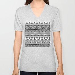 Aztec Influence Pattern II Black on White Unisex V-Neck